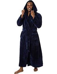 Ross Michaels Mens Luxury 400gsm Hooded Long Robe - Full Length Plush Big & Tall Bathrobe