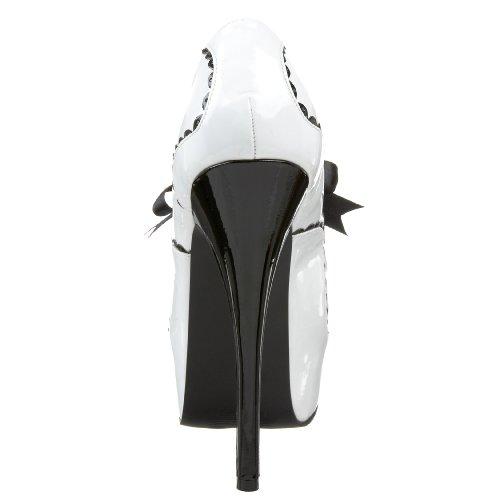 Bordello By Pleaser Womens Teeze-01 Platform Pump White/Black Patent FOtG2yFeSn