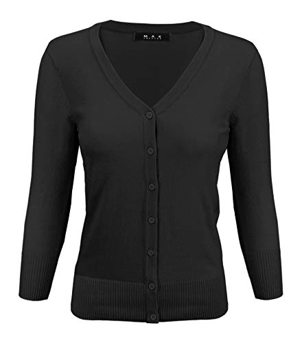 YEMAK Women's 3/4 Sleeve V-Neck Button Down Knit Cardigan Sweater CO078-BLK-M Black ()