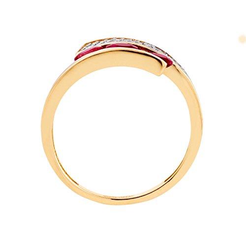 Bague CLEOR en Or 375/1000 Bicolore et Rubis Rouge, Diamant - Femme