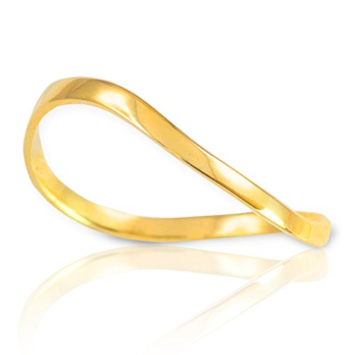High Polish 14k Yellow Gold Wave Band Thumb Ring (Size 8.5) (Yellow 14k Gold Polish)