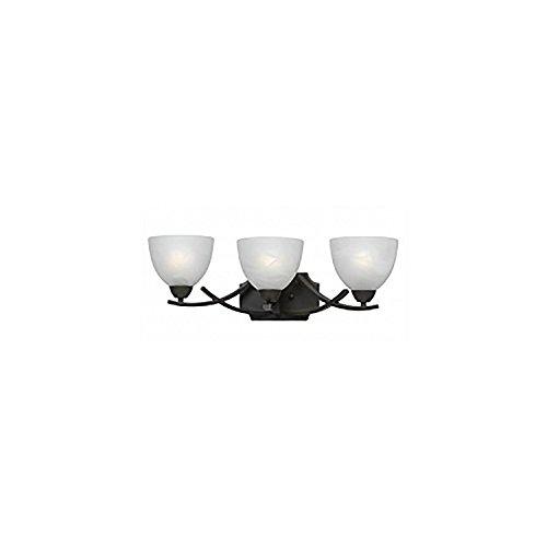 Lumenno Lighting 8002-00-03 Vanity with White Swirl Alabaster Glass Shades, Bronze - Bath Lighting Swirl Glass