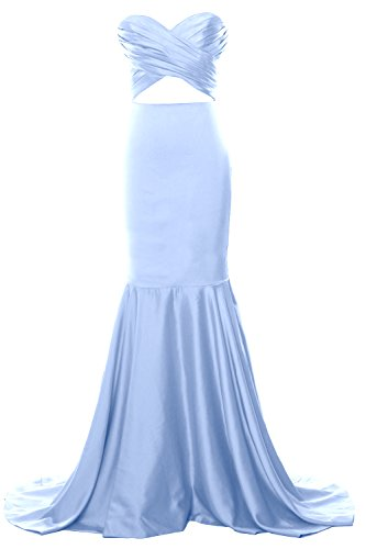 MACloth Women Mermaid Strapless Prom Dress Cut Out Wedding Formal Evening Gown Cielo azul