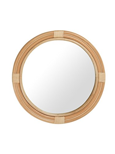 Nautical Decorative Wall Mirror in Rattan, Natural Color (Mirror Rattan Wall)