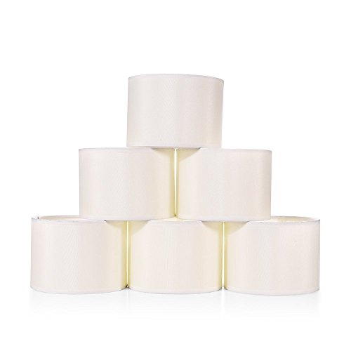 Wellmet 5.5 Inch Set of 6 Mini Chandelier Lampshades, Fabric Faux Silk Cream White Drum Lamp Shades for Dining Room, Clip on Modern Chandelier Wall Lamp, 5.5