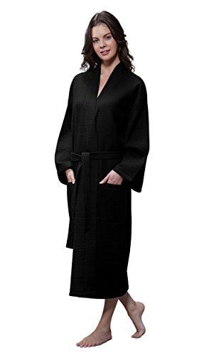 Turquaz Linen Lightweight Long Waffle Kimono Unisex Spa Robe (One Size, Black)