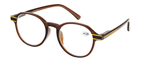 Reading Glasses Spring Hinge Plastic Rim Stylish Glasses with Box, Pouch, and Cloth Clear Brown