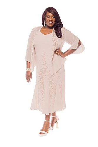 Plus Size Beaded Jacket Dress - Mother of The Bride Dresses (20W, Mauve) (Beaded Dresses Plus Size)
