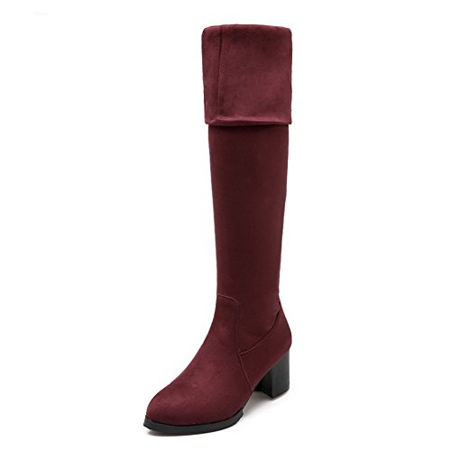 Round Boots Pull Red Heels Kitten Frosted Solid Toe Women's Closed on AgooLar wIqCHH
