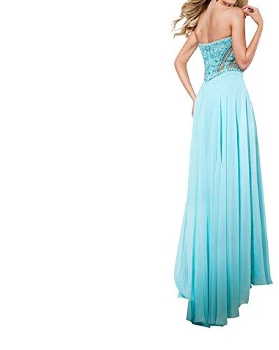 Partykleider Abendkleider Blau Traegerlos mia Perlen Festlichkleider La A linie Chiffon Braut Bodenlang nRqOWwZT