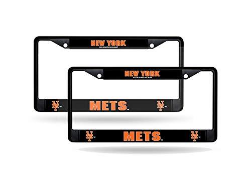 (Rico New York Mets MLB 12x6 Black Metal (Set of 2) License Plate Frames)