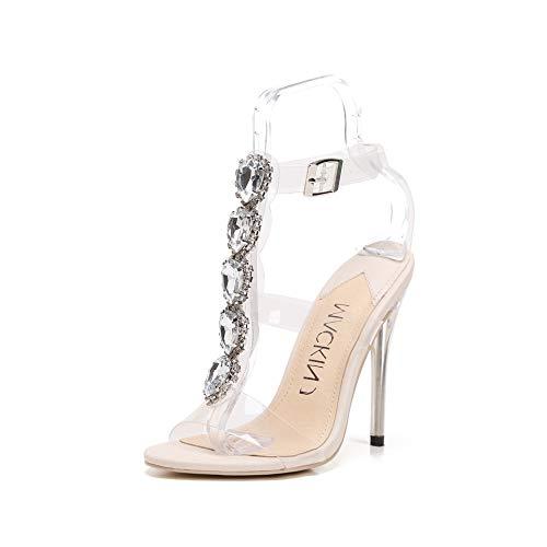 (MACKIN J 213-14 Women's Open Toe High Heels Gladiator Sandals Transparent Ankle Strap Buckle Stiletto with Rhinestones (9,Nude))