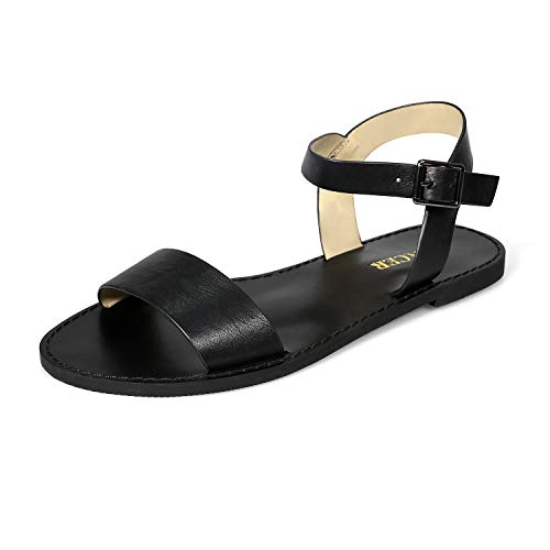 Eunicer Women's Classic Open Toe Ankle Strap Summer Casual Flat Sandals Black - Sandals Open Toe Classic
