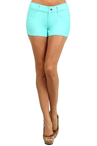 Yelete Women's Casual Summer Stretchy Jegging Shorts (Small, Turquoise)