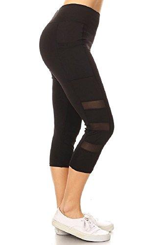 - Jvini Women's Active Mesh Panel Insert Workout Yoga Leggings & Capris Pants (Medium, Black-68)