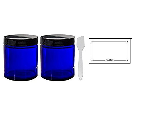 Cobalt Blue Glass Straight Sided Jars - 4 oz / 120 ml (2 pack) + Spatulas and Labels - Airtight, Smell Proof, BPA Free Lids