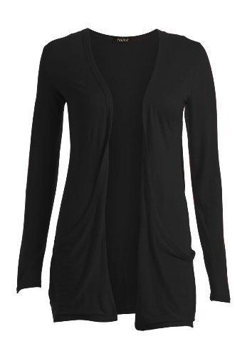 Fast Fashion Damen Langarm Jacke mit Taschen, Gr. M/L (Herstellergroße. 40-42), Schwarz