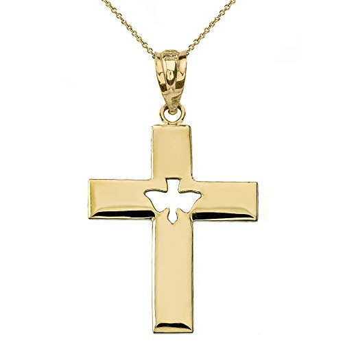 10k Yellow Gold Holy Spirit Cross with Descending Cutout Dove Pendant Necklace, 18