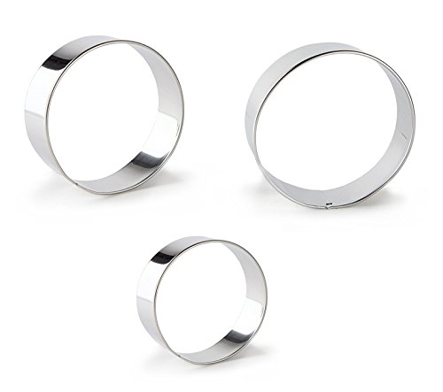 Fashionclubs 3pcs/set Stainless Steel Round Cookie Cutter Mold,Dia 4cm,5.2cm,6.2cm]()