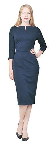 Marycrafts Women's Work Office Business Square Neck Sheath Midi Dress 14 Dark Blue