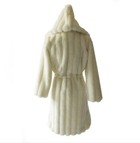 mujeres largo Abrigo sólida para sintética largo y piel de Abrigo Blanco manga con invierno piel Chaqueta Abrigo simple de de de larga capucha nOZHqHYw