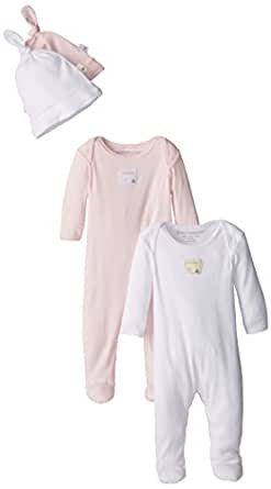 Burt's Bees Baby - Set of 2 Bee Essentials Footed Coveralls + Knot Top Hats, Blossom/Cloud (0-3 Months)