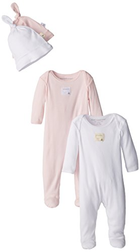 Burt's Bees Baby - Set of 2 Bee Essentials Footed Coveralls + Knot Top Hats, Blossom/Cloud (0-3 Months) (Long Sleeve Footed Coverall)