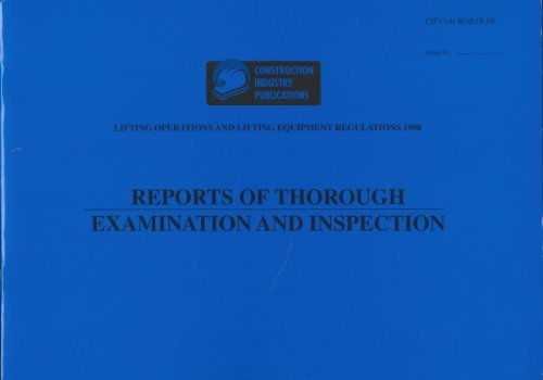 Lifting Operation and Lifting Equipment Regulations: Records of Inspection (1998-12-07)