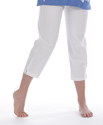 M.Mac's Solid Capri Pants-White 2X