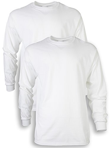 Gildan Men's Ultra Cotton Adult Long Sleeve T-Shirt, 2-Pack, White, Medium by Gildan