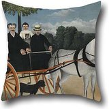 artistdecor 20 X 20 Inches / 50 by 50 cm Oil Painting Henri Rousseau, Dit Le Douanier - La Carriole Du Père Junier Pillow Covers,Two Sides is Fit for Bench,bf,Coffee House,Festival,Teens Boys,car ()