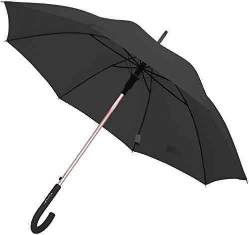 TAHARI Automatic Open Aluminum Shaft Rubberized Grip Handle Umbrella (Black)