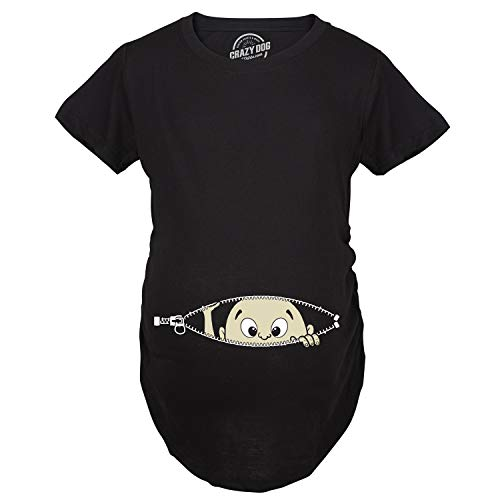 Maternity Baby Peeking T Shirt Funny Pregnancy Tee for Expecting Mothers (Black) - M ()