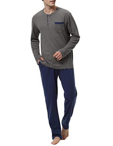 Abollria Pajamas Men Cotton Thermal Top Mens and Cotton Pants Long Sleeve Pajamas Set,Blue,S