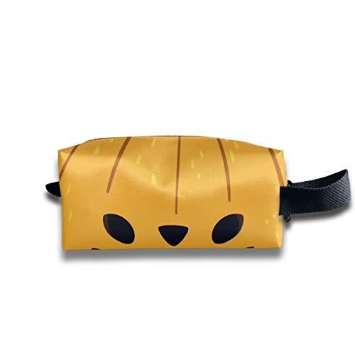 Cute Halloween Cartoon Cat Ears Pumpkin Multi-Function Key Purse Coin Cash Pencil Travel Makeup Toiletry Bag Box -