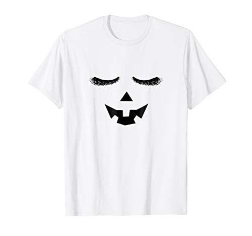 Eyelashes Pumpkin Face Halloween Costume Tee Shirt -