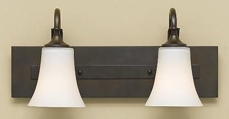 18W x 9H 200watts 2-Light 200watts Satin Nickel Feiss VS12702-BS Barrington Glass Wall Vanity Bath Lighting 2-Light 18W x 9H