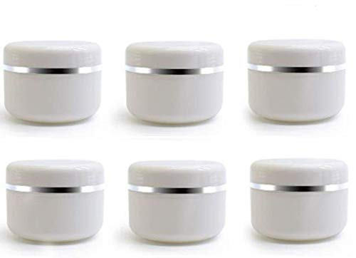 (ericotry 100ml 3.34oz White Silver Edge Empty Refillable Cosmetic Plastic Jars with Dome Lid Make Up Face Cream Lip Balm Lotion Storage Container Travel Case Bottle Pot Pack of)