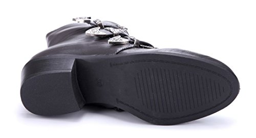 Schuhtempel24 Damen Schuhe Klassische Stiefeletten Stiefel Boots Blockabsatz Schnalle 5 cm Grau