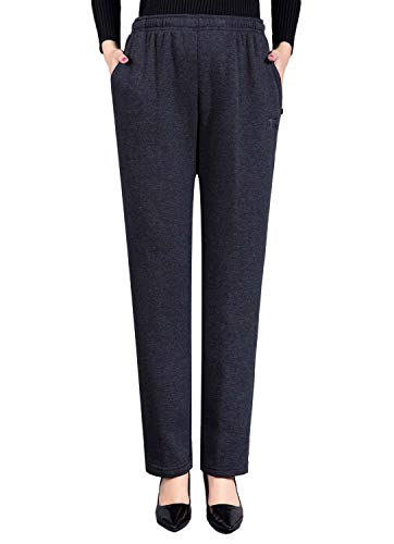 Soojun Womens Fleece Stretch Pull On Knit Pants, Darkgrey, 6