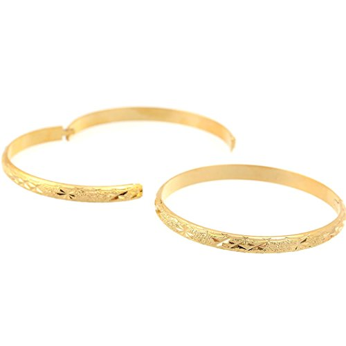Loyoe Jewelry 24k Yellow Gold Plated Carved Womens Bangle Ladys Bracelet -
