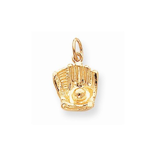 10k Gold Baseball Pendant - 10k Yellow Gold BASEBALL Charm Pendant (20mm x 11mm)