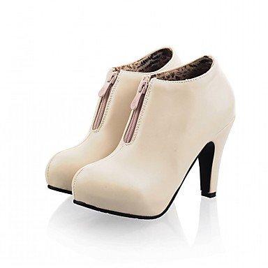 PU Herbst Zehe Neuheit Stöckelabsatz Booties Stiefel Runde Modische Stiefeletten Komfort Schuhe Damen Kunstleder Winter Stiefel 7Awn4qnxEt