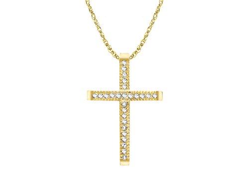 Carissima Gold - Collier Femme avec pendentif - Croix - Or jaune (9 cts) 1.87 Gr - Diamant