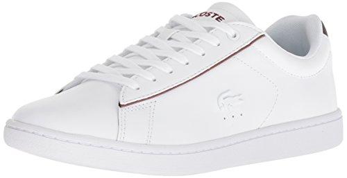 Lacoste Women's Carnaby EVO Sneaker, White/Burgundy, 8.5 Medium US