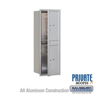 Salsbury 3713S-2PAFP 48 in. Recessed Mounted 4C Horizontal Mailbox - 13 Door High Unit - Single Column - Stand-Alone Parcel Locker - 2 PL6s - Aluminum - Front Loading - Private Access Aluminum 4c Horizontal Mailboxes