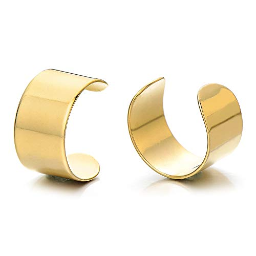 - 2pcs Gold Color Stainless Steel Ear Cuff Ear Clip Non-Piercing Clip On Earrings for Men and Women