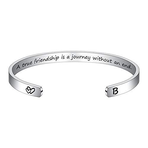 M MOOHAM Friendship Bracelets for Friends Gifts - Initial Bracelet B Gifts for Friend Birthday BFF Bestie Stocking Stuffers Friendship Jewelry Long Distance Gift Coworker Cuff Bracelet