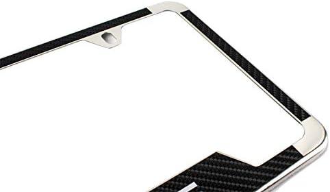 Lolosale Carbon Fiber Vinyl Decal Stainless Steel Metal Sport License Plate Frame Cover Holder for Lexus 1