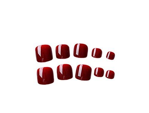 24pcs Short Fake Toenails for Women Girls French Square False Toe Nails with Glue Acrylic Feet Nail Patch